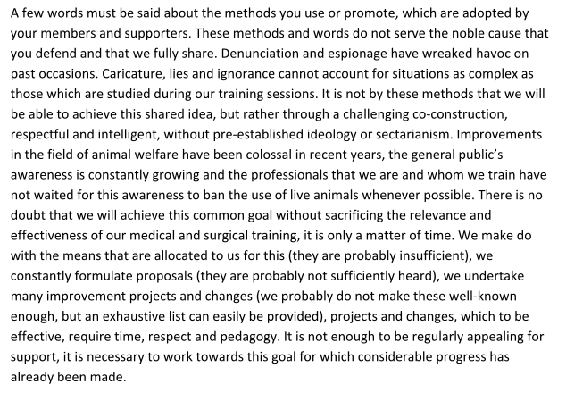 An extract from the letter of the vet school head dated 18th May 2018.